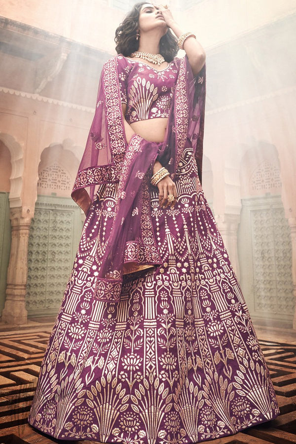 Wine Art Silk Pure Gotta Wedding Lehenga Set