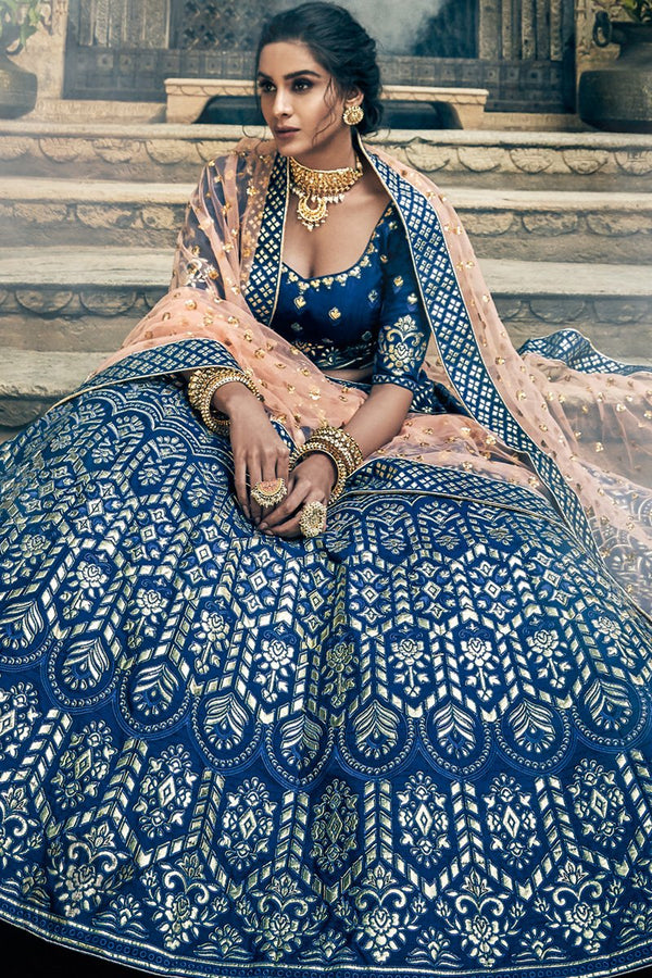 Navy Blue and Peach Art Silk Pure Gotta Wedding Lehenga Set