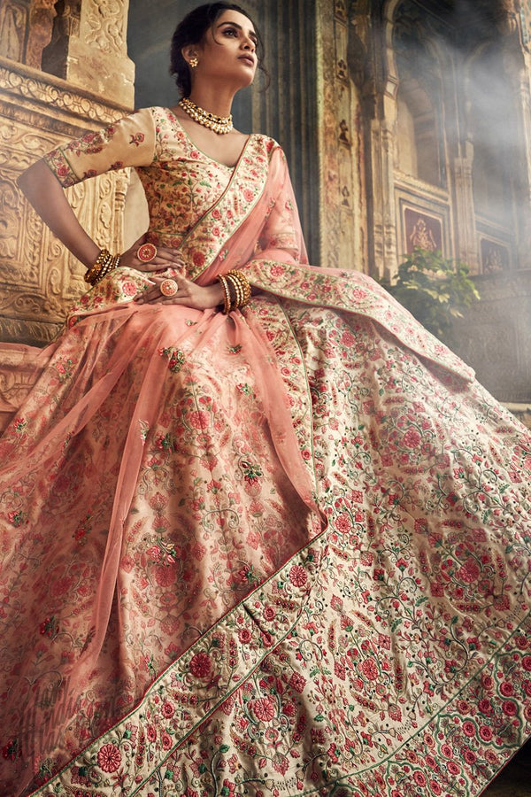 Jute White and Pink Art Silk Wedding Lehenga Set