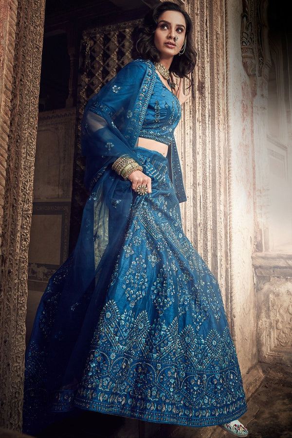 Royal Blue Art Silk Wedding Lehenga Set