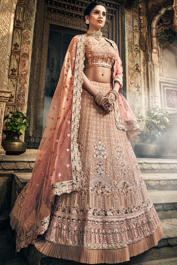 Rose Taupe Georgette Wedding Lehenga Set