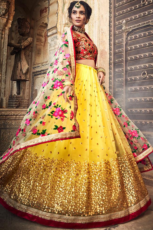 Yellow and Red Soft Net Wedding Lehenga Set