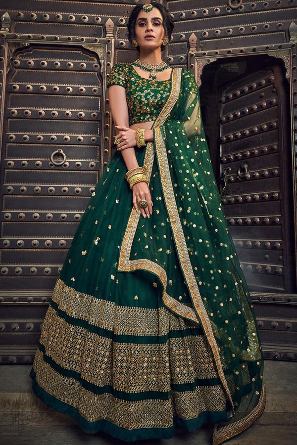 Bottle Green Soft Net Wedding Lehenga Set