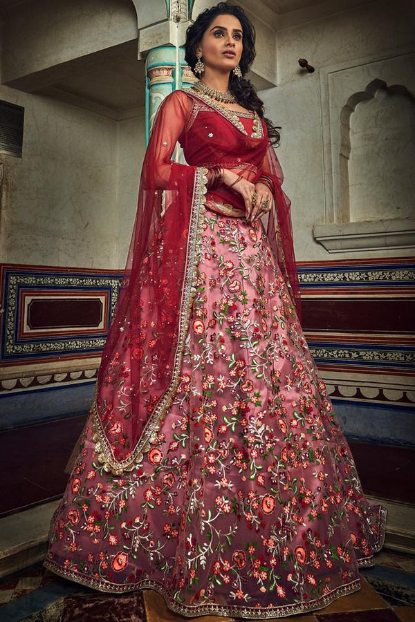 Cherry and Cranberry Red Soft Net Wedding Lehenga Set