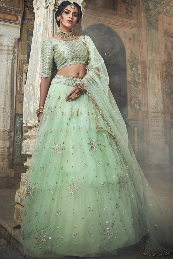 Pistachio Green Soft Net Wedding Lehenga Set