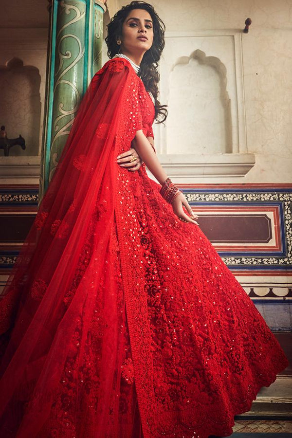 Love Red Soft Net Wedding Lehenga Set