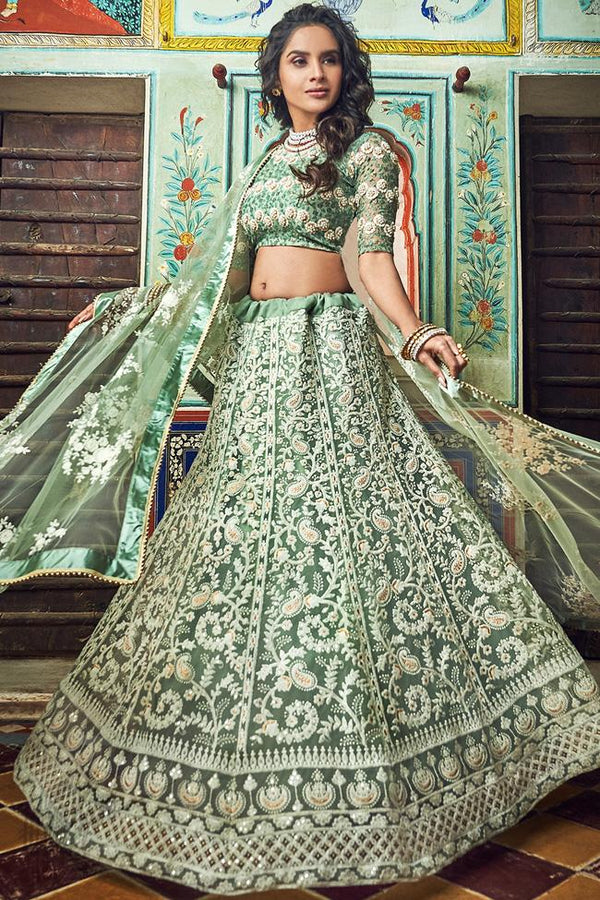 Hazel Green Soft Net Wedding Lehenga Set