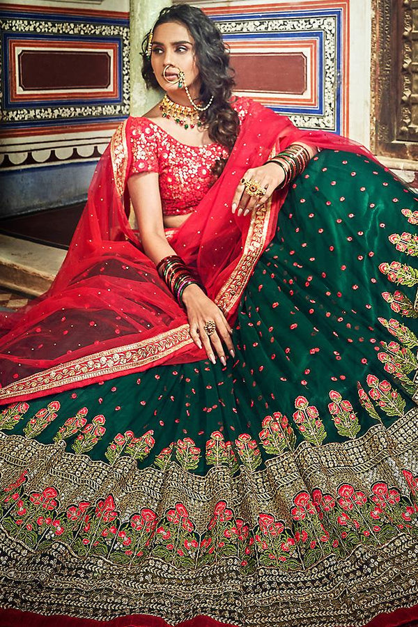 Bottle Green and Ruby Red Soft Net Wedding Lehenga Set