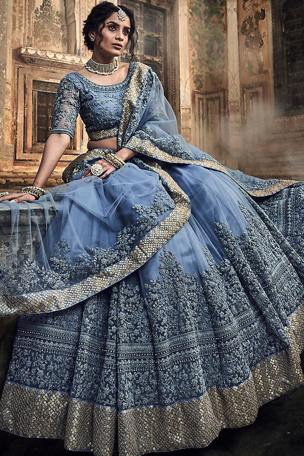 Light Steel Blue Soft Net Wedding Lehenga Set