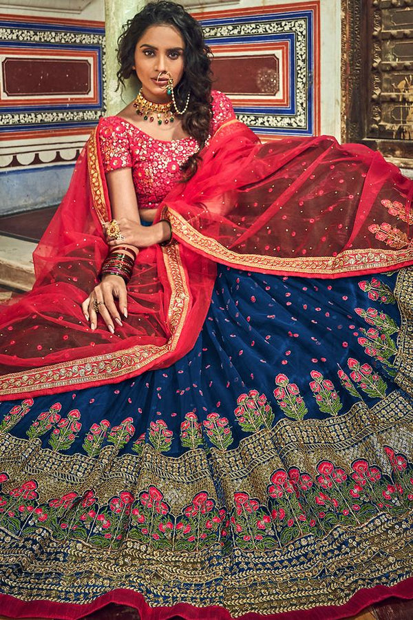 Navy Blue and Ruby Red Soft Net Wedding Lehenga Set