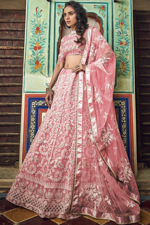 Baby Pink Soft Net Wedding Lehenga Set