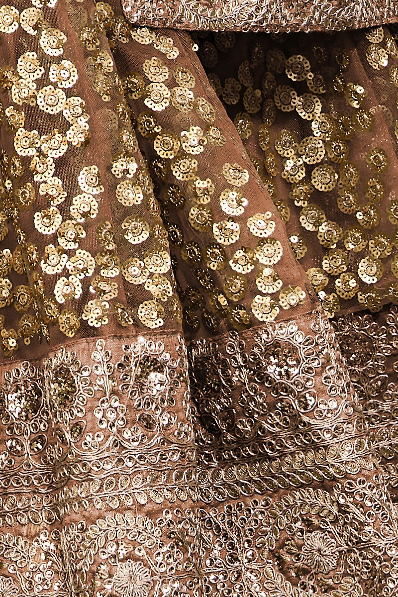 Rust Brown Soft Net Sequins Studded Embroidered Wedding Lehenga Set
