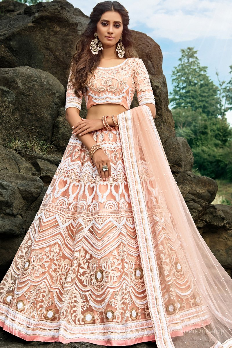 Peach Soft Net Sequins Studded Embroidered Wedding Lehenga Set