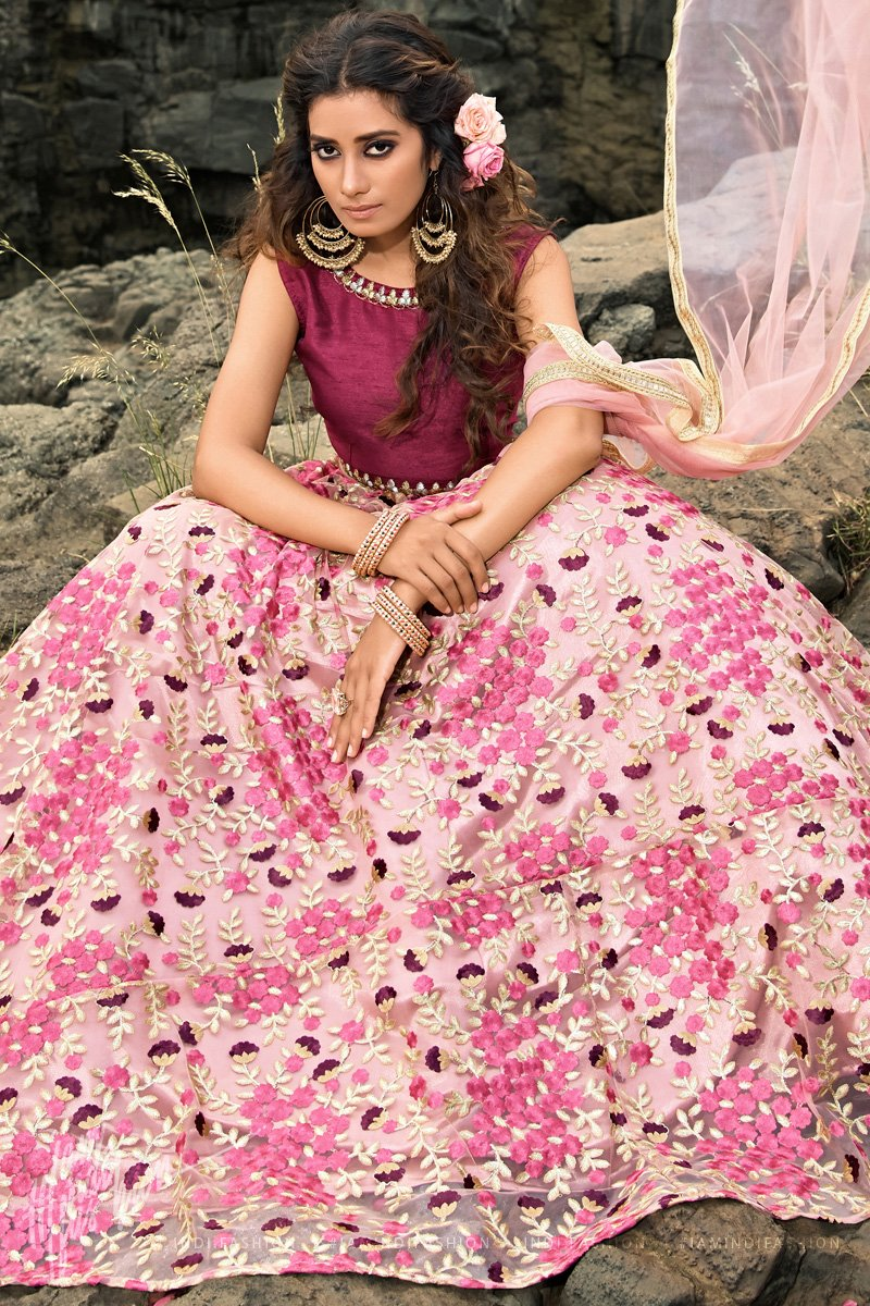 Pink and Burgundy Soft Net Sequins Studded Embroidered Wedding Lehenga Set