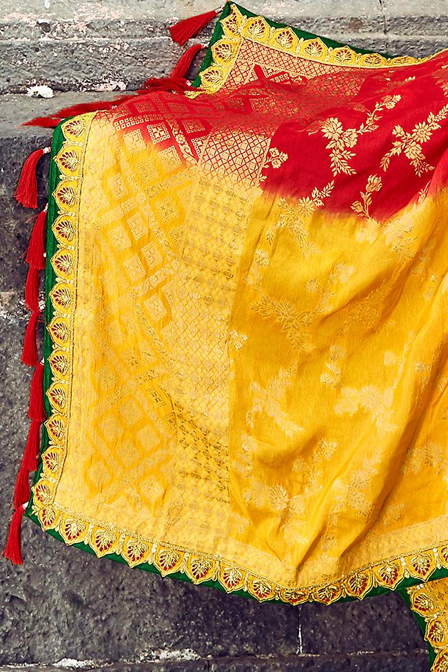 Sunflower Yellow Green and Red Banarasi Jacquard Silk Wedding Lehenga Set