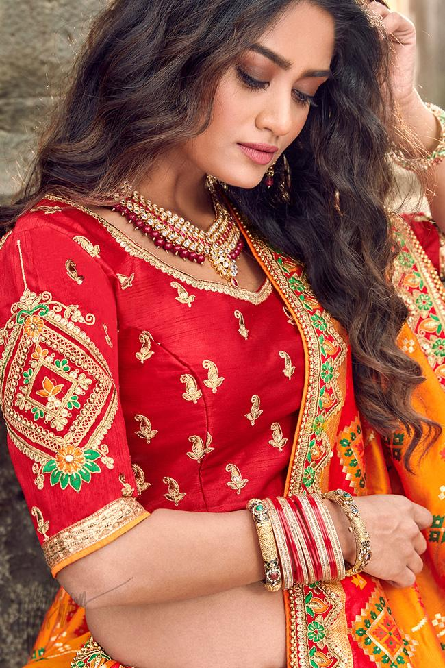 Dark Orange and Red Banarasi Jacquard Silk Wedding Lehenga Set