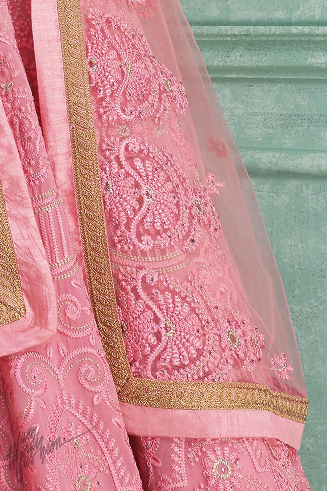 Baby Pink Georgette Chicken Anarkali Suit