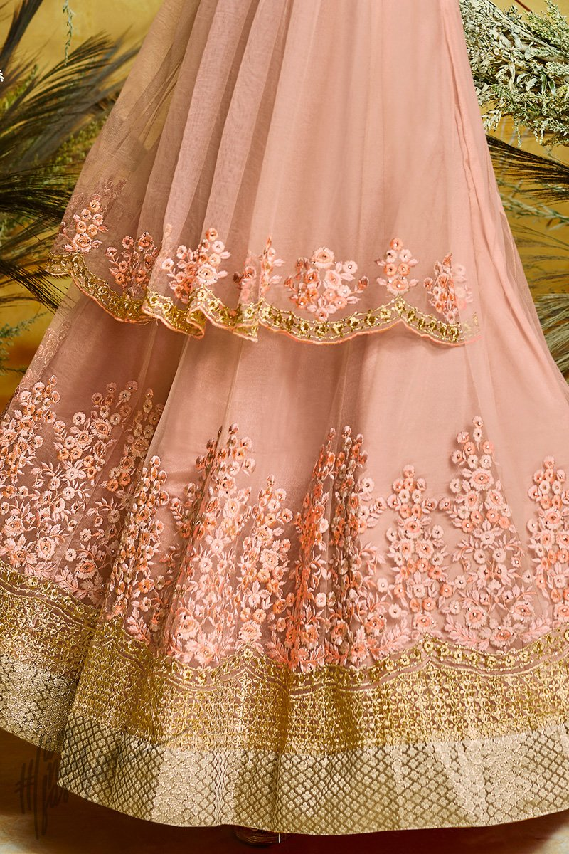 Crepe Pink Butterfly Net Anarkali Suit