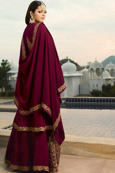 Plum Purple Georgette Lehenga Style Suit