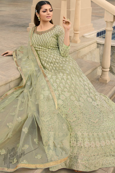 Pastel Green Georgette Anarkali Suit