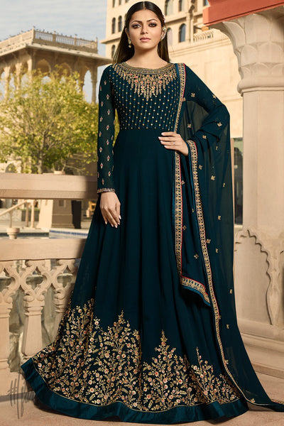 Peacock Blue Georgette Anarkali Suit