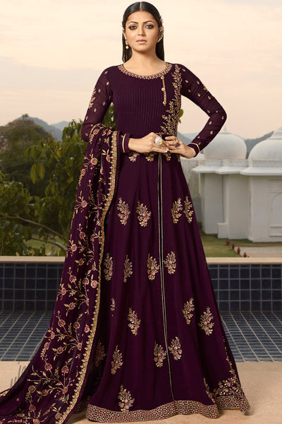 Wine Georgette Anarkali Suit