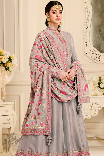 Gray Mulberry Silk Anarkali Suit