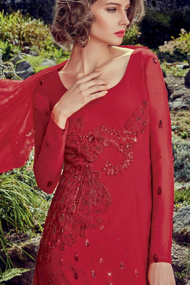Indi Fashion Red Crepe Party Wear Gown
