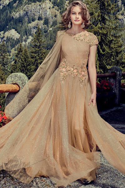 Indi Fashion Beige Shimmer Net Party Wear Gown