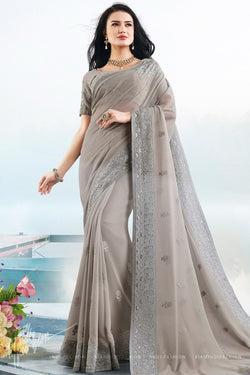 Gray Georgette Lakhnavi Chicken Work Saree