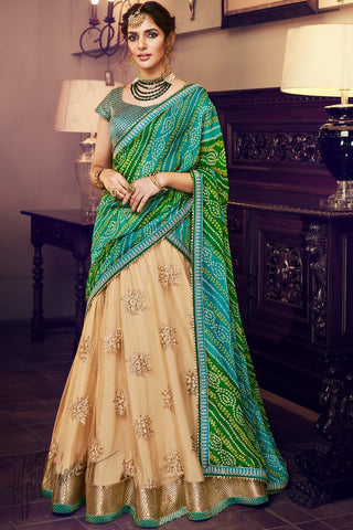 Cream and Green Net Wedding Lehenga Set