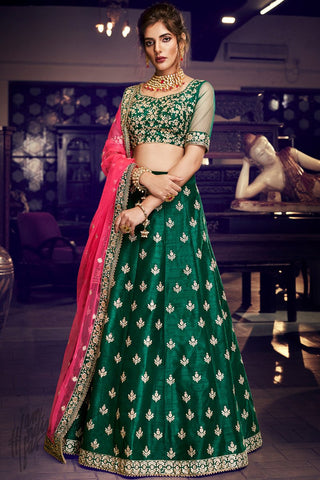 Bottle Green and Pink Handloom Silk Wedding Lehenga Set