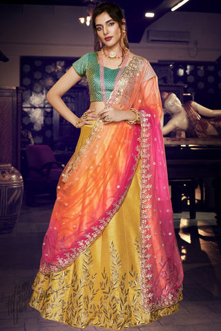Mustard Green and Rani Handloom Silk Wedding Lehenga Set