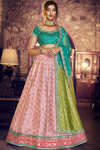 Peach and Firoji Satin Silk Wedding Lehenga Set