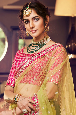 Liril Green and Rani Net and Satin Wedding Lehenga Set