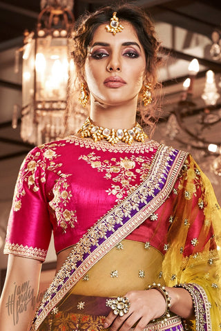 Featuring a Violet Rani and Liril Banarasi Jacquard Silk Wedding Lehenga Set