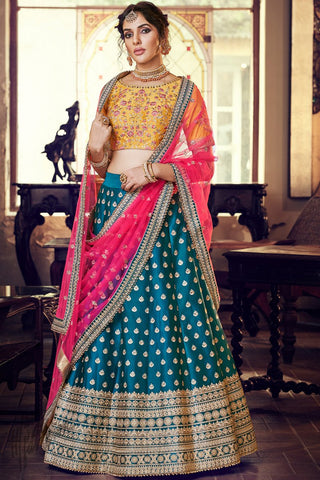 Peacock Blue Mustard and Pink Satin Silk Wedding Lehenga Set