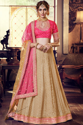 Beige and Pink Georgette Wedding Lehenga Set