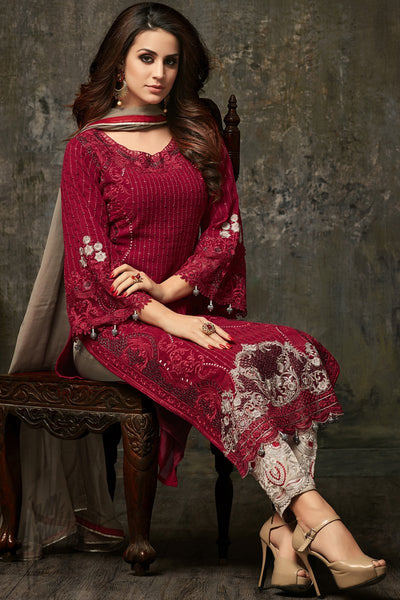 Indi Fashion Maroon and Gray Georgette Straight Party Wear Suit