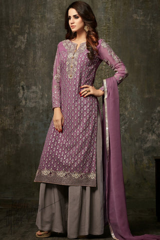 Indi Fashion Purple and Gray Georgette Palazzo Party Wear Suit