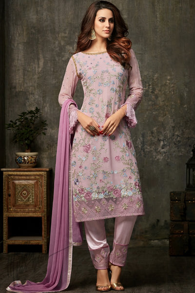 Indi Fashion Light Mauve Georgette Straight Party Wear Suit