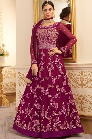 Indi Fashion Wine Silk and Net Floor Length Party Wear Suit