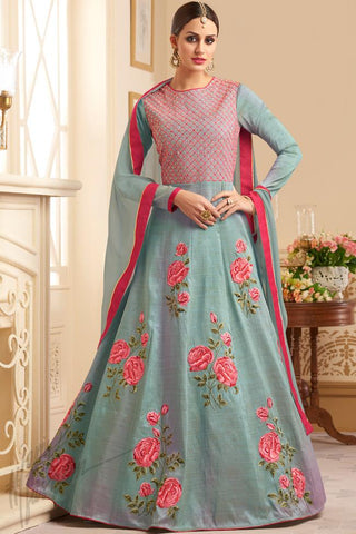 Indi Fashion Sky Blue Silk Floor Length Party Wear Suit