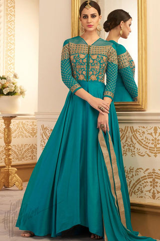 Indi Fashion Turquoise Silk Floor Length Party Wear Suit