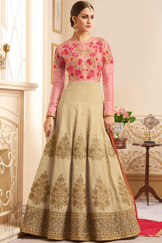 Indi Fashion Peach and Beige Silk Floor Length Party Wear Suit