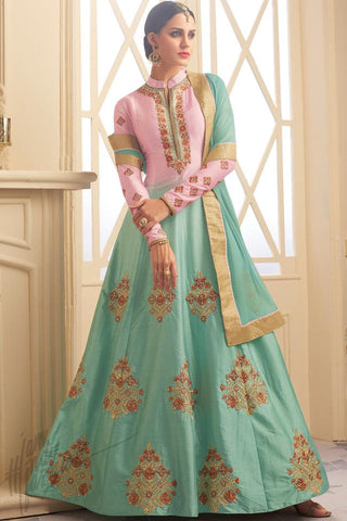 Indi Fashion Baby Pink and Sea Green Silk Floor Length Party Wear Suit