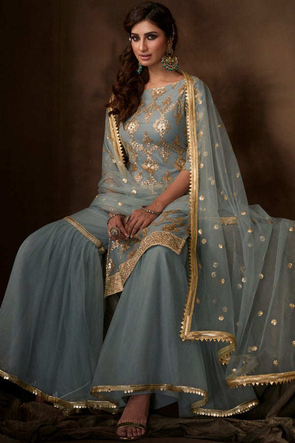 Gray Dori Thread and Sequins Work Wedding Sharara Suit