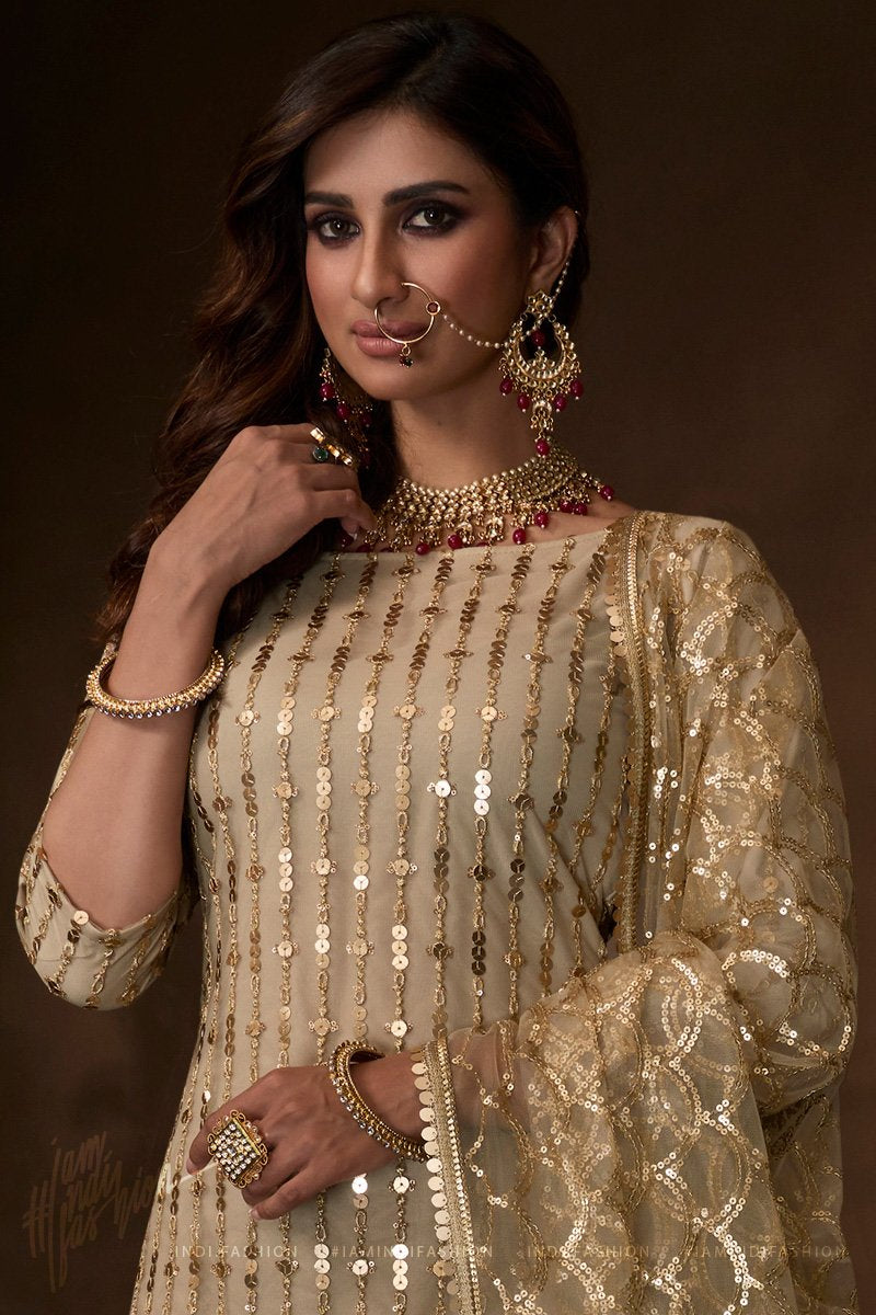 Dusky Beige Soft Net Dori Thread and Sequins Work Wedding Sharara Suit
