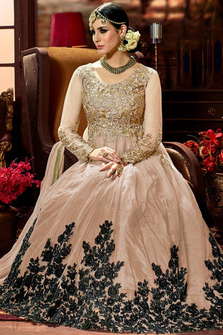 Indi Fashion Light Peach Net Party Wear Floor Length Suit