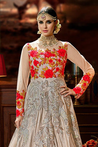 Indi Fashion Light Copper Silk Party Wear Floor Length Suit